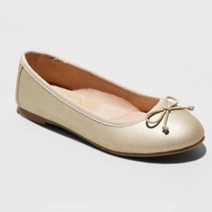 Cat & Jack Gold Stacy Ballet Flats Size 5, NWT
